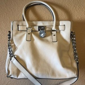 Large white leather Michael Kors tote